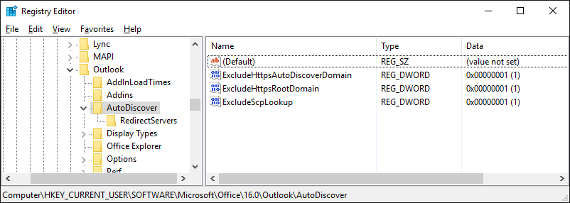 outlook-autodiscover-registry
